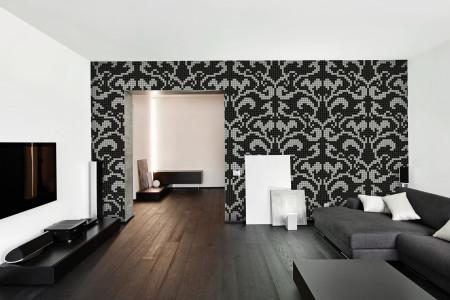 black textiles Traditional Ornamental Mosaic installation by Artaic