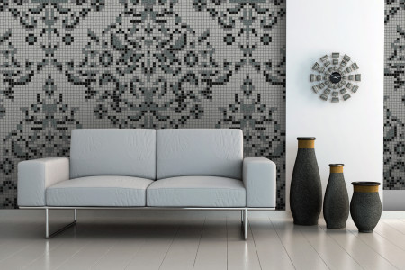 gray textiles Traditional Ornamental Mosaic installation by Artaic