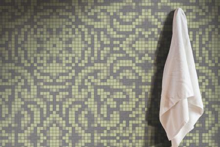 green textiles Traditional Ornamental Mosaic installation by Artaic
