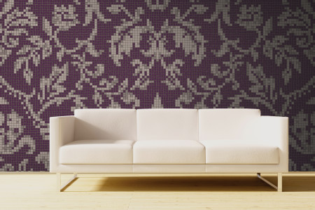 purple textiles Traditional Ornamental Mosaic installation by Artaic