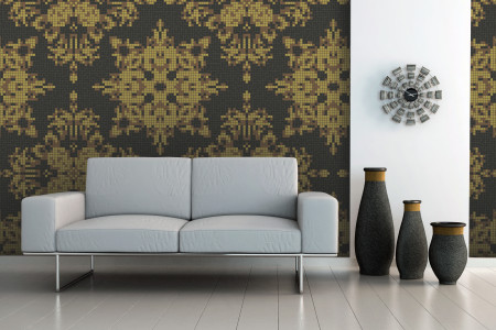 yellow textiles Traditional Ornamental Mosaic installation by Artaic