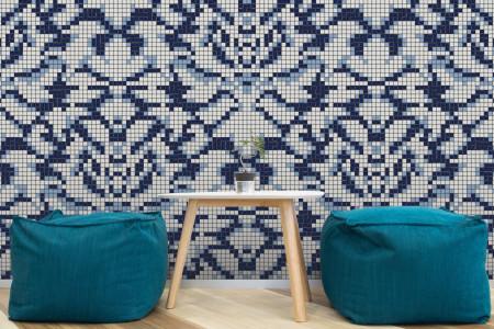 blue textiles Traditional Ornamental Mosaic installation by Artaic