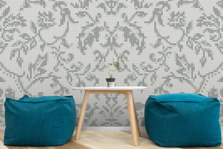 white textiles Traditional Ornamental Mosaic installation by Artaic