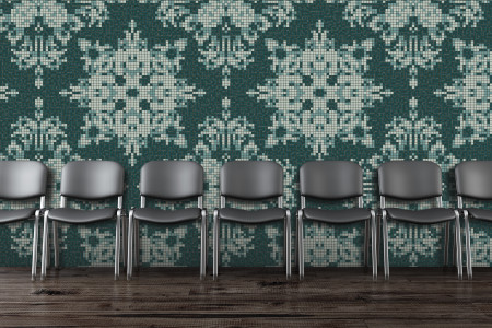 Turquoise textiles Traditional Ornamental Mosaic installation by Artaic