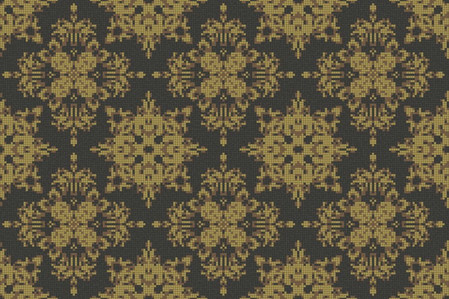 yellow textiles Traditional Ornamental Mosaic by Artaic
