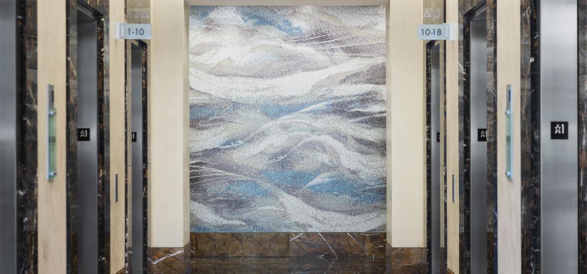 One Marina Park Drive abstract wave mosaic wall mural | Artaic