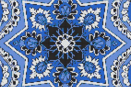 blue flowing vines Traditional Ornamental Mosaic by Artaic