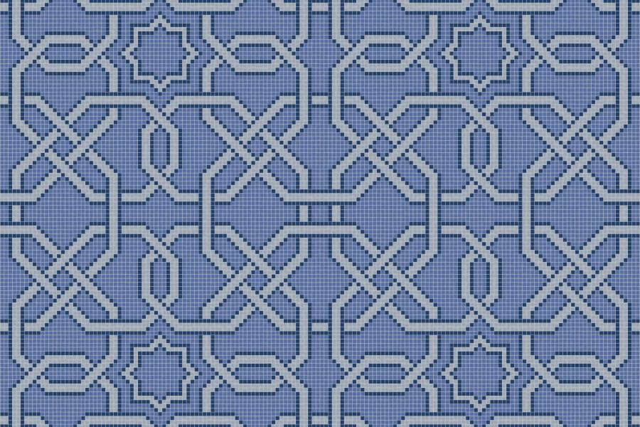 blue flowing vines Traditional Geometric Mosaic by Artaic