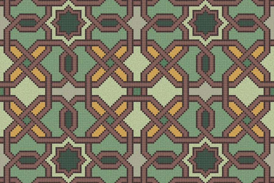 green flowing vines Traditional Geometric Mosaic by Artaic green flowing  vines Traditional Geometric Mosaic installation by