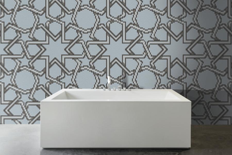 Blue Flowing Vines Tile Pattern Star Block Soft Blue By Artaic - Ceramic tile star designs