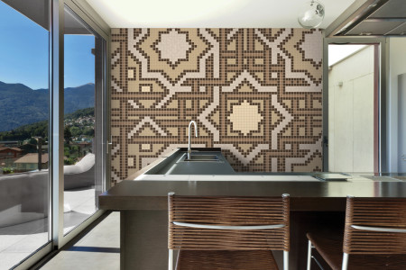 Artaic's Intertwined Sandstone mosaic Pattern installed in a Residential living-room