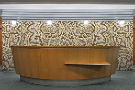 Artaic's Relief Sandstone mosaic Pattern installed in a Residential living-room