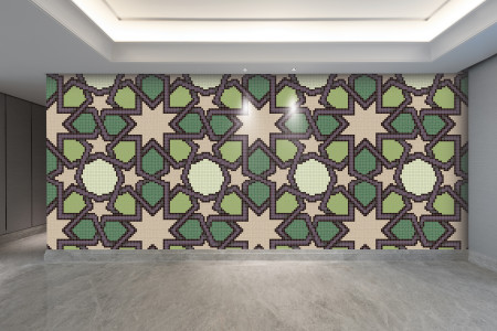 Artaic's Star Block Grapevine mosaic Pattern installed in a Residential living-room