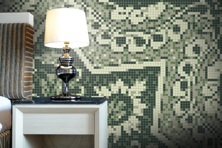 Artaic's Blossom Garden mosaic Pattern installed in a Hospitality Bathroom