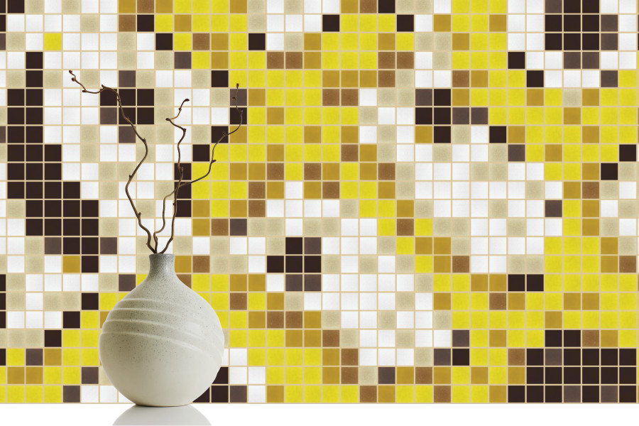 Yellow flowing vines tile pattern florid royalty by artaic for Yellow mosaic bathroom tiles