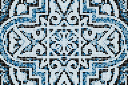 Turquoise flowing vines Traditional Ornamental Mosaic by Artaic