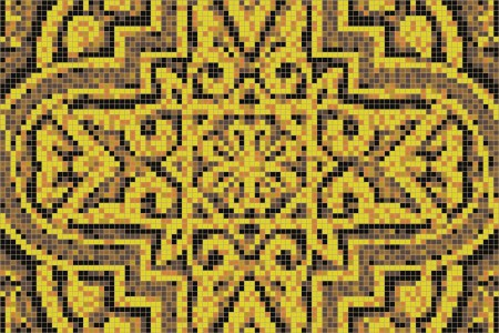 yellow flowing vines Traditional Ornamental Mosaic by Artaic