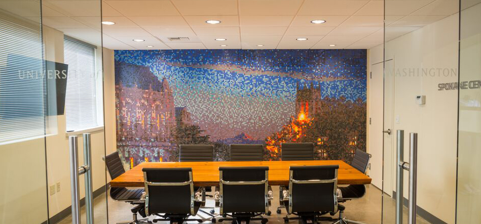 01151206 University of Washington Mosaic Night Time Campus Tile Mural | Artaic
