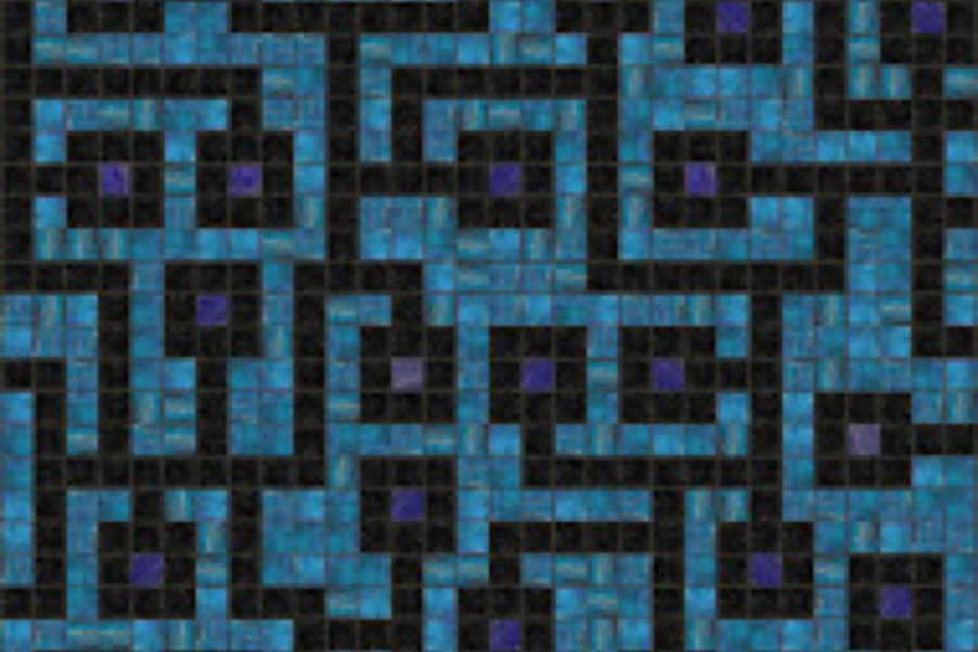 blue circuit board Tile Pattern | Circuitry Stormy Sky by Artaic
