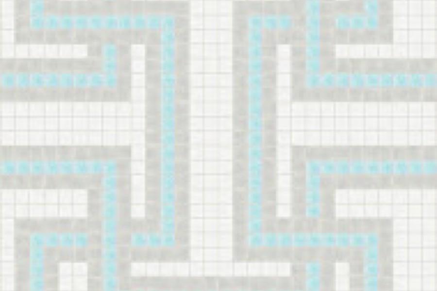 Blue Greek Key Traditional Geometric Mosaic By Artaic Blue Greek Key Traditional Geometric Mosaic Installation By