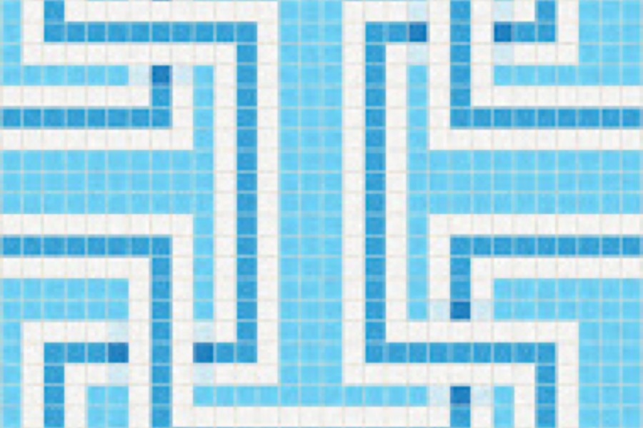 Blue Greek Key Traditional Geometric Mosaic By Artaic Installation