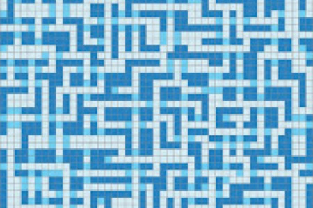blue pixels Traditional Geometric Mosaic by Artaic