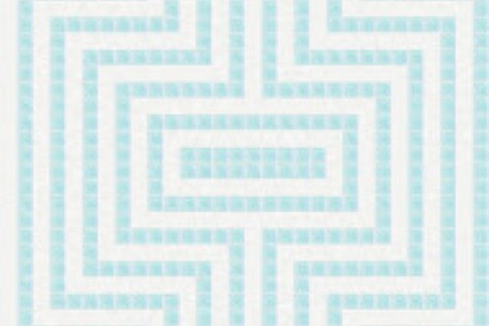 blue statement Traditional Geometric Mosaic by Artaic