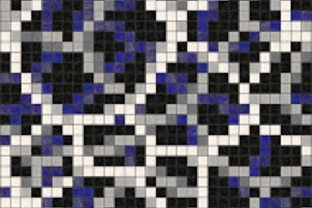 blue water molecules Traditional Geometric Mosaic by Artaic