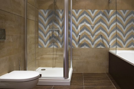 Artaic's Ridgeline Lake mosaic Pattern installed in a Residential Vase