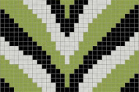 green chevron Traditional Geometric Mosaic by Artaic