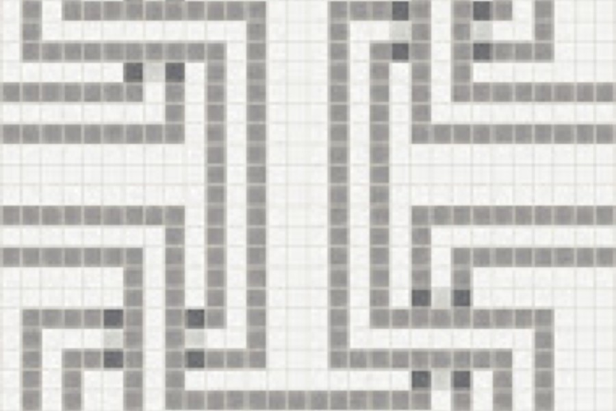 Grey Greek Key Traditional Geometric Mosaic By Artaic Installation