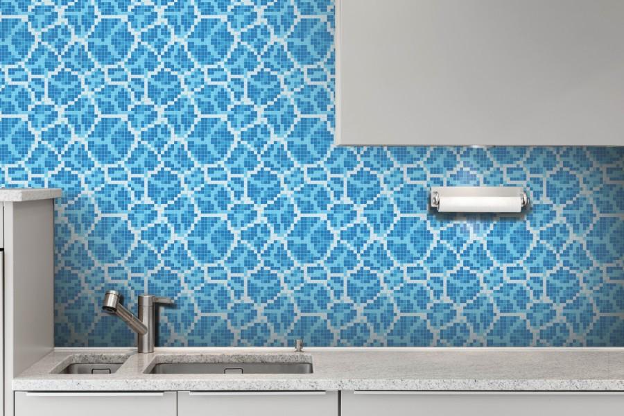 Blue Water Molecules Tile Pattern | Watercell Lake By Artaic