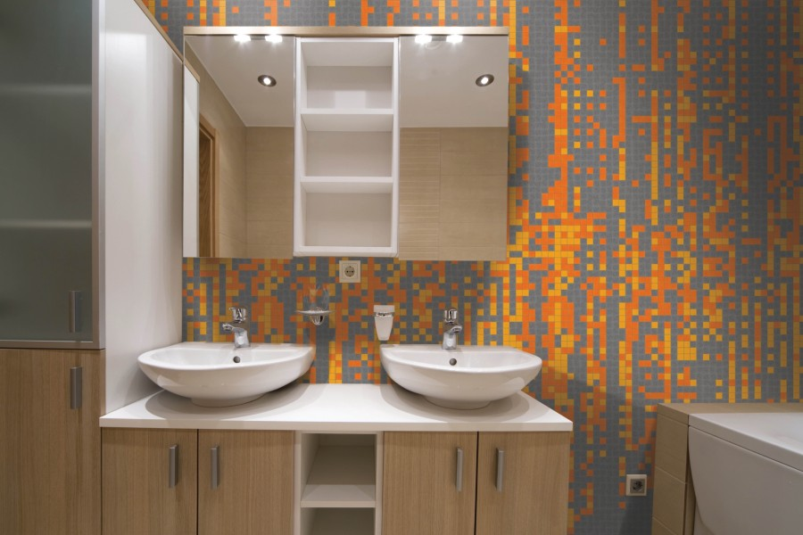 Orange Pixels Tile Pattern Digibits Tangerine By Artaic