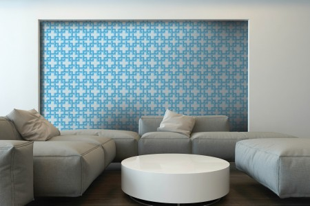 Artaic's Lattice Lake mosaic Pattern installed in a Residential living-room