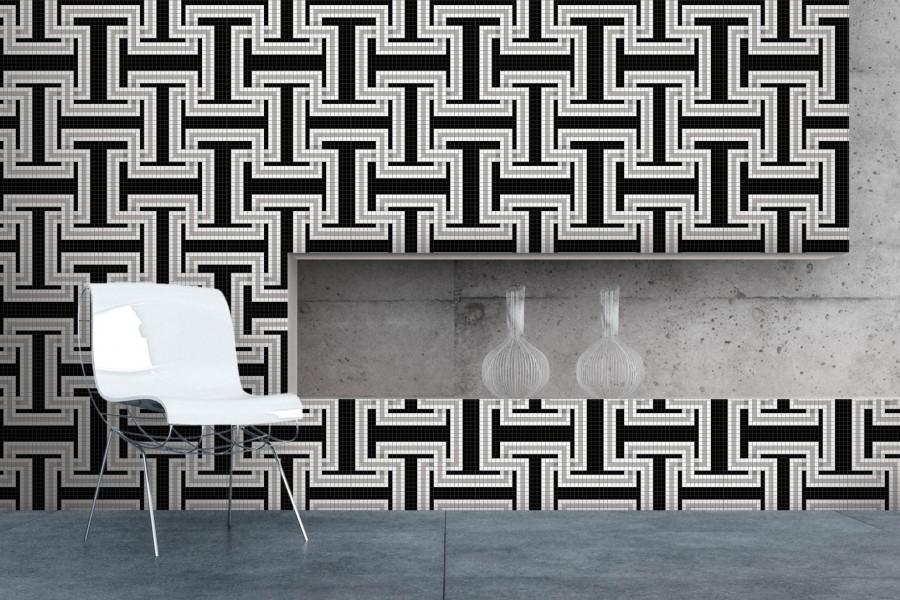 Black Greek Key Traditional Geometric Mosaic Installation By  C2 B7