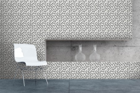 Artaic's Hive Titanium mosaic Pattern installed in a Commercial Office
