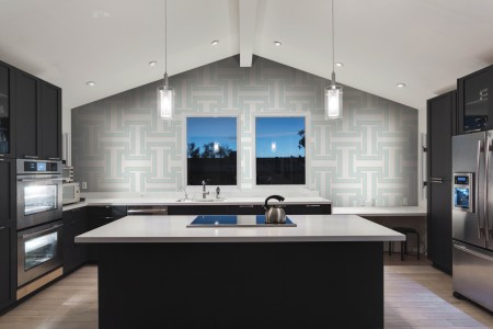 Artaic's Athena Aether mosaic Pattern installed in a Residential living-room