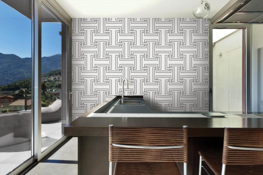 Grey Greek Key Tile Pattern Athena Titanium By Artaic