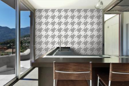 Artaic's Great Dane Titanium mosaic Pattern installed in a Residential Vase