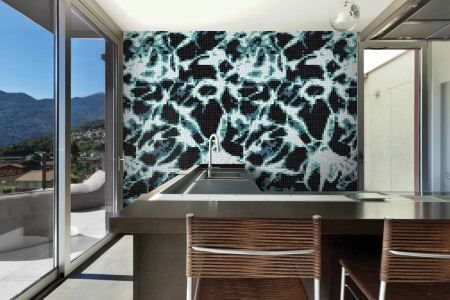 Artaic's Rippling Digital Turquoise mosaic Pattern installed in a Residential living-room