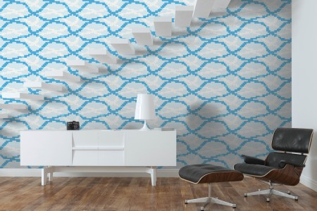 Artaic's floating Lake mosaic Pattern installed in a Residential living-room