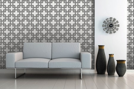 Artaic's Lattice Titanium mosaic Pattern installed in a Residential living-room