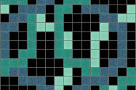 turquoise lattice Traditional Geometric Mosaic by Artaic