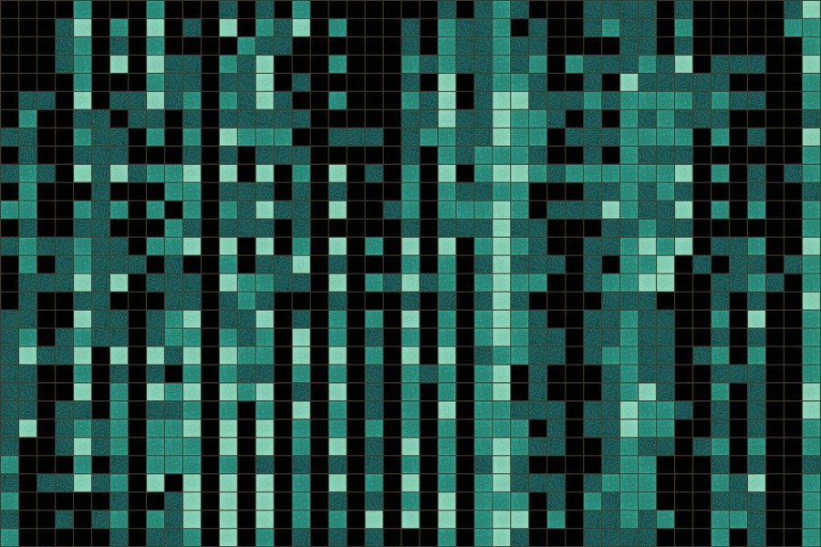 turquoise pixels Traditional Geometric Mosaic by Artaic