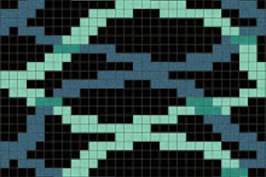 turquoise water rippling Traditional Geometric Mosaic by Artaic