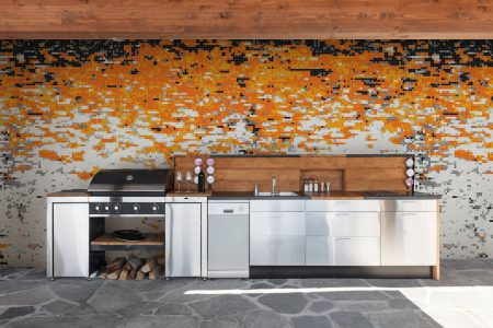 Carboniation Tangerine tile Mosaic in modern outdoor kitchen