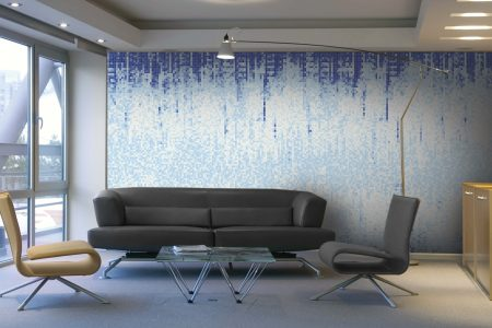 Blue Waterfall Contemporary Abstract Mosaic installation by Artaic