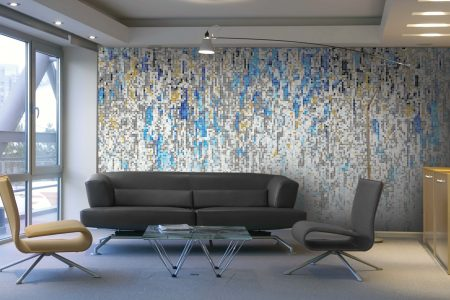 Blue downpour Contemporary Abstract Mosaic installation by Artaic