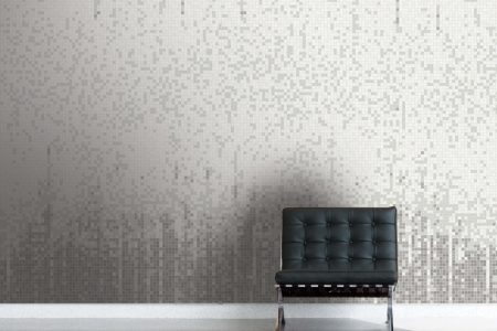 Grey Waterfall Contemporary Abstract Mosaic installation by Artaic