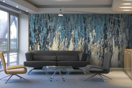 Turquoise waterfall Contemporary Abstract Mosaic installation by Artaic